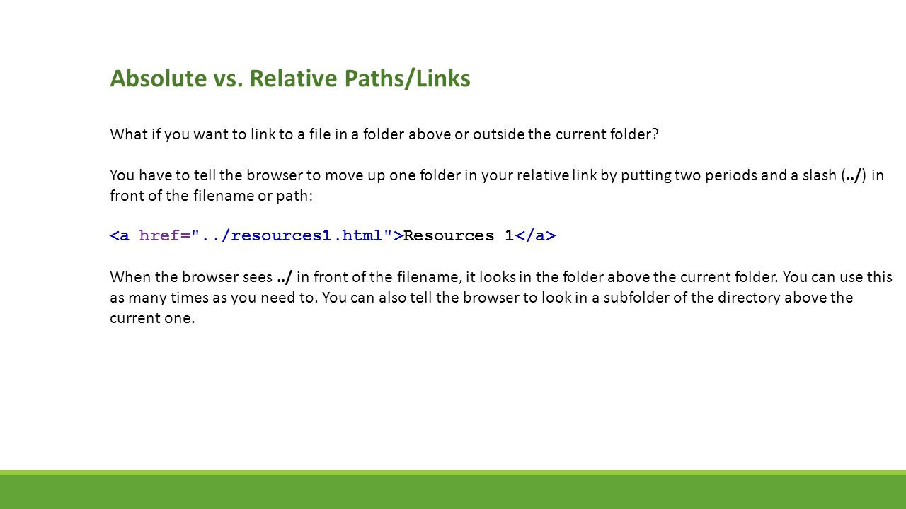 absolute and relative links In my web pages i want to use relative links instead of absolute links however, pages do not allow php code inside them, so i cannot do to from a url in a relative manner.