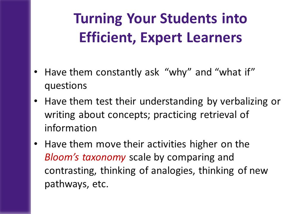 Turning Your Students into Efficient, Expert Learners