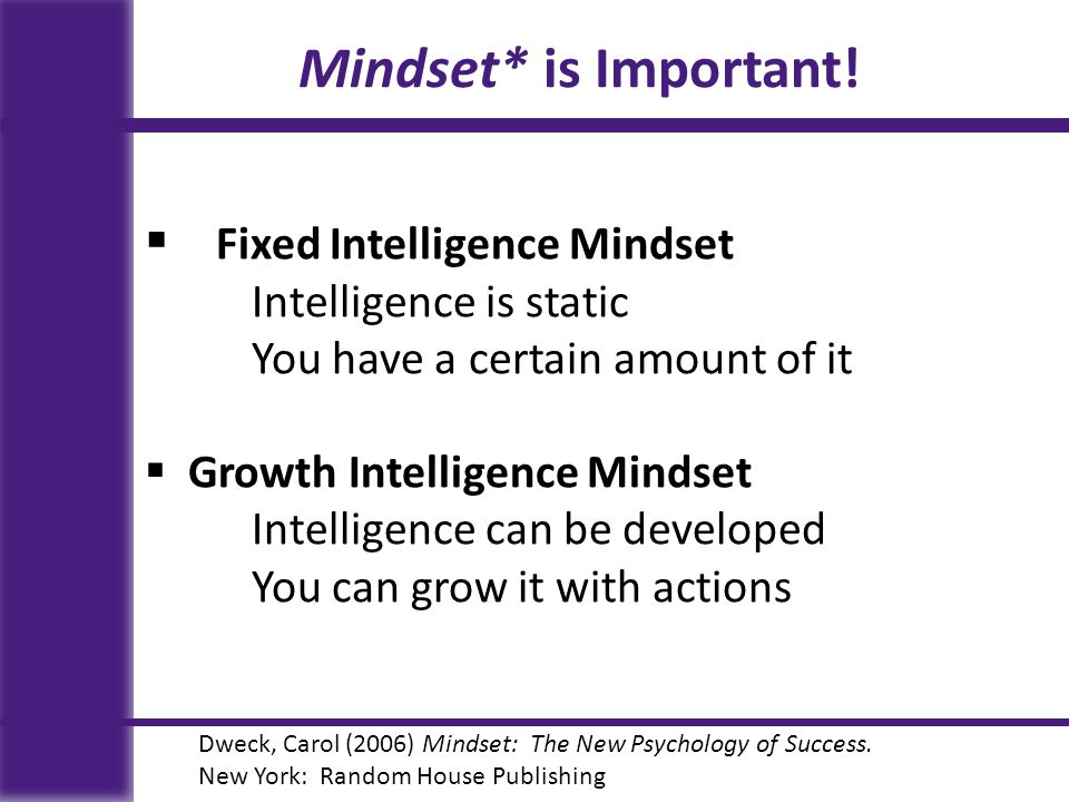 Mindset* is Important! Fixed Intelligence Mindset