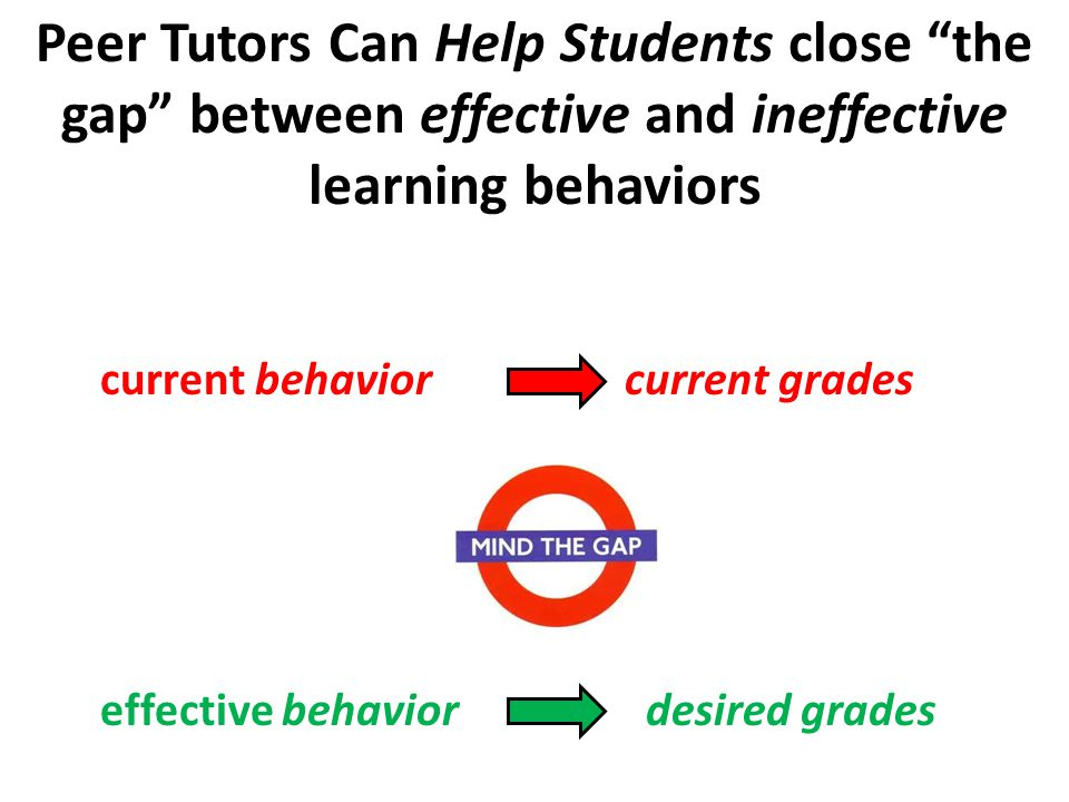 Peer Tutors Can Help Students close the gap between effective and ineffective learning behaviors