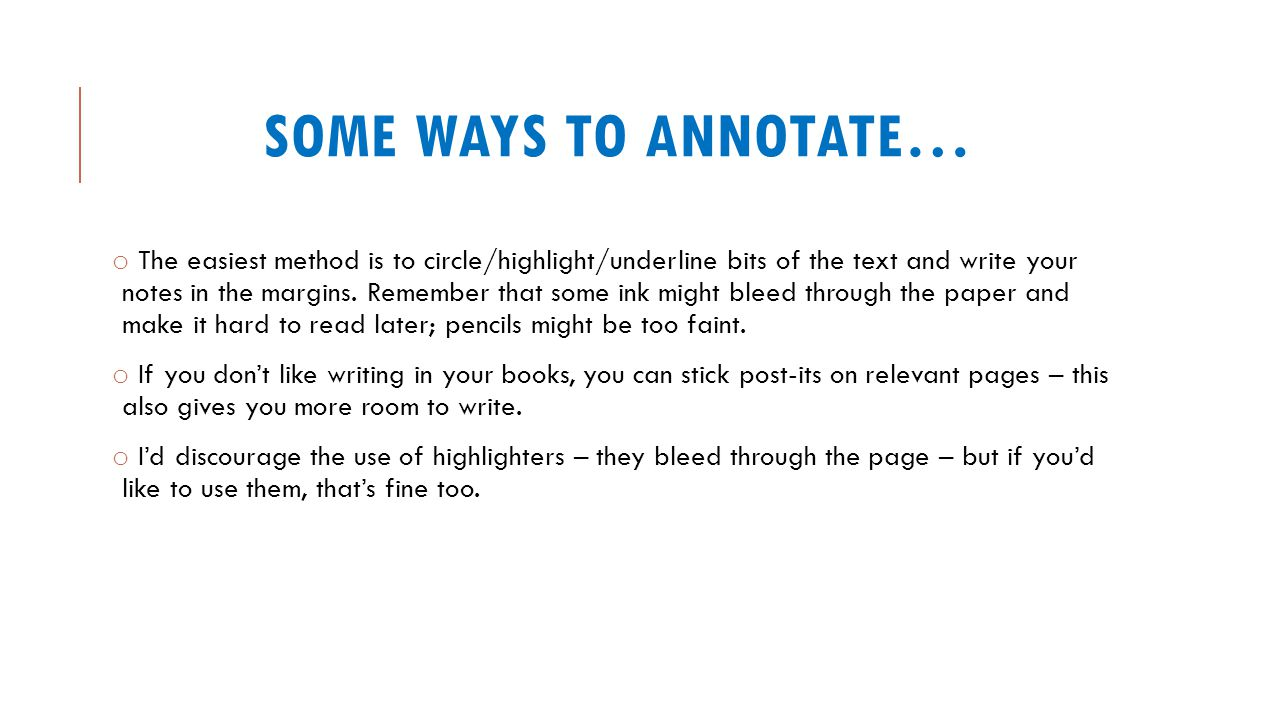 Some ways to annotate…