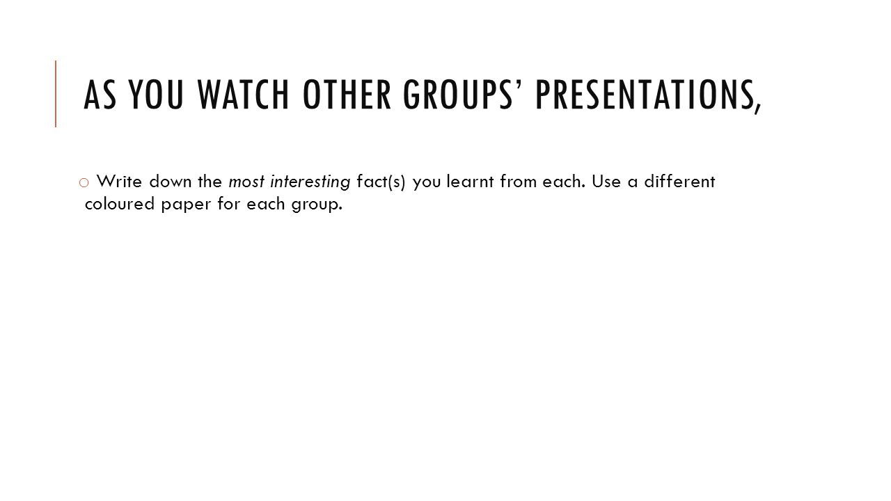 As you watch other groups' presentations,