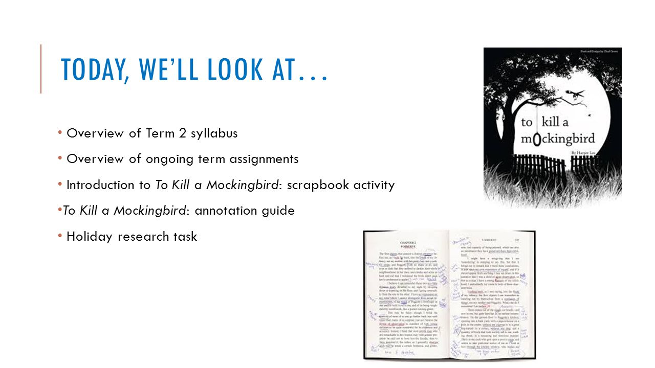 Today, we'll look at… Overview of Term 2 syllabus