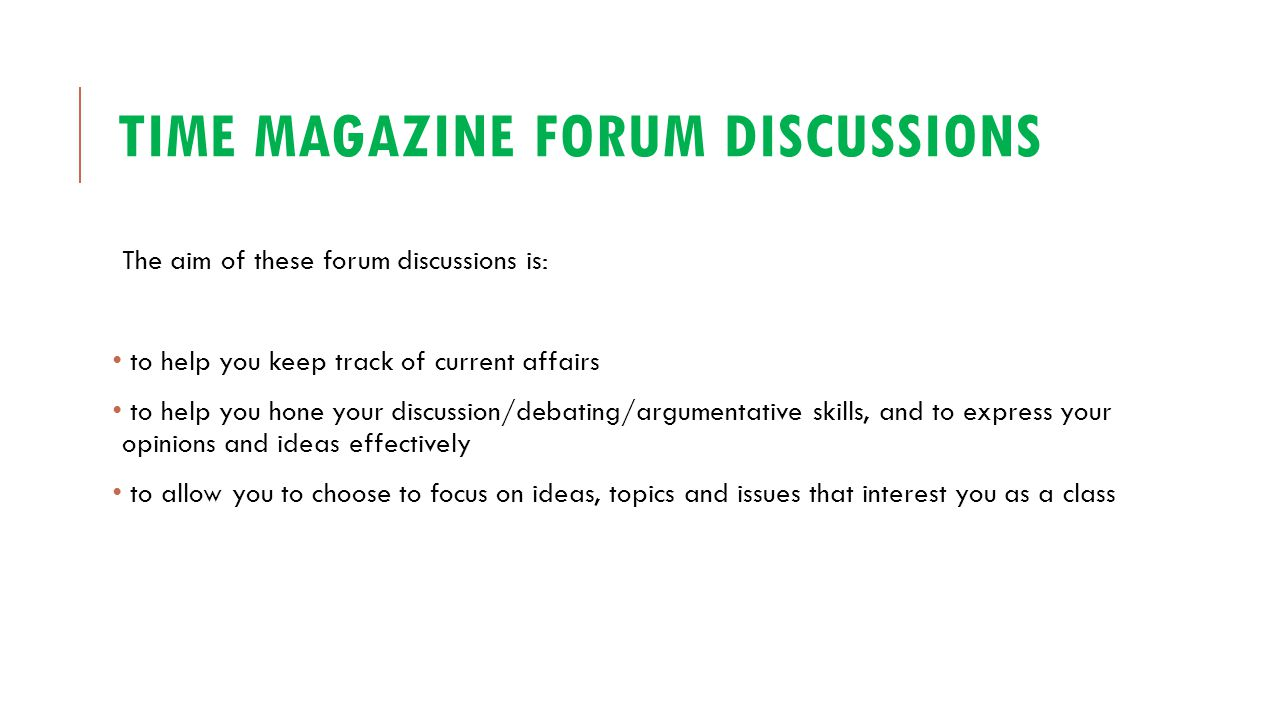 Time magazine forum discussions