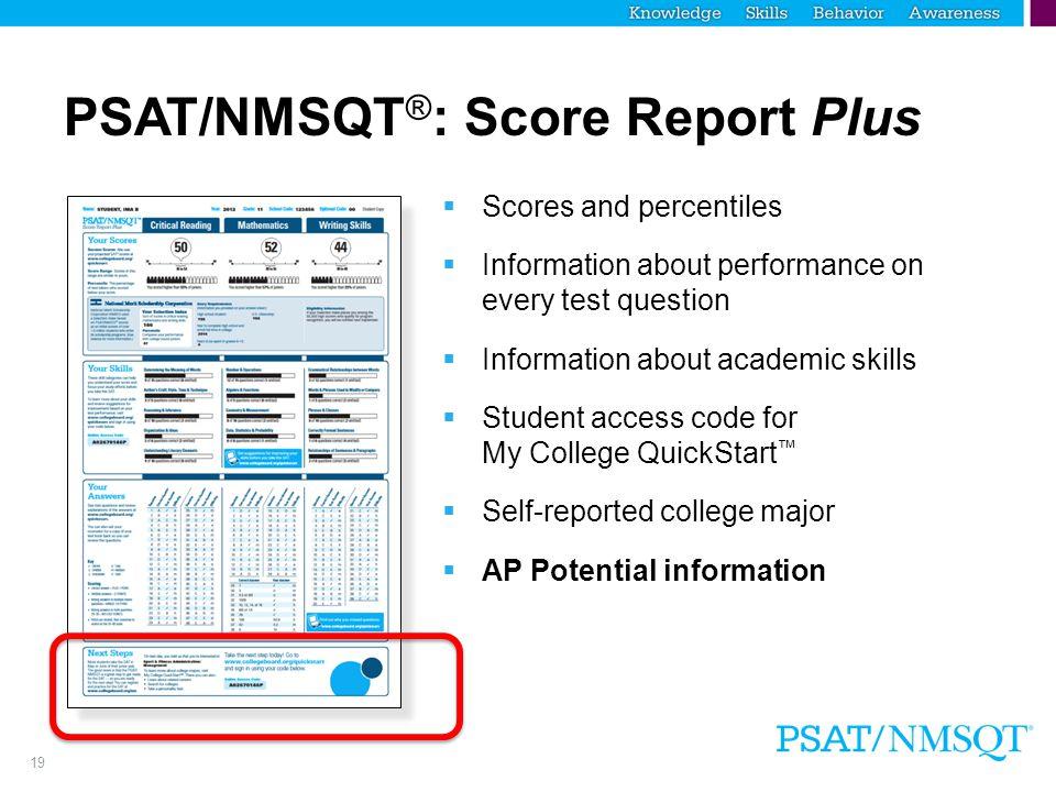 PSAT/NMSQT®: Score Report Plus