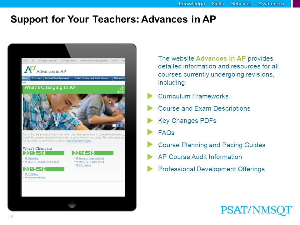 Support for Your Teachers: Advances in AP