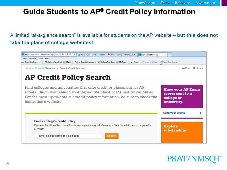 Step 2 Guide Students to AP® Credit Policy Information