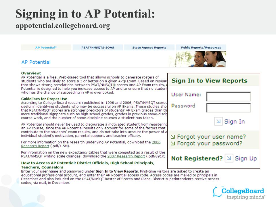 Signing in to AP Potential: appotential.collegeboard.org