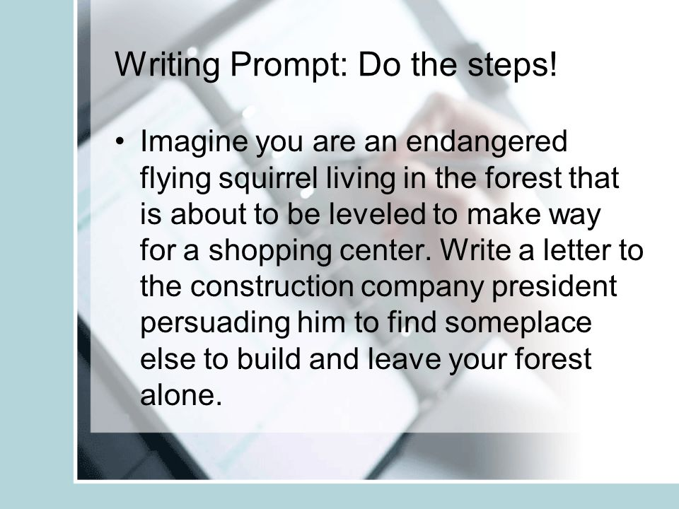 Writing Prompt: Do the steps!
