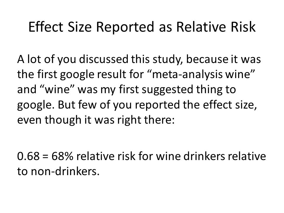 Effect Size Reported as Relative Risk