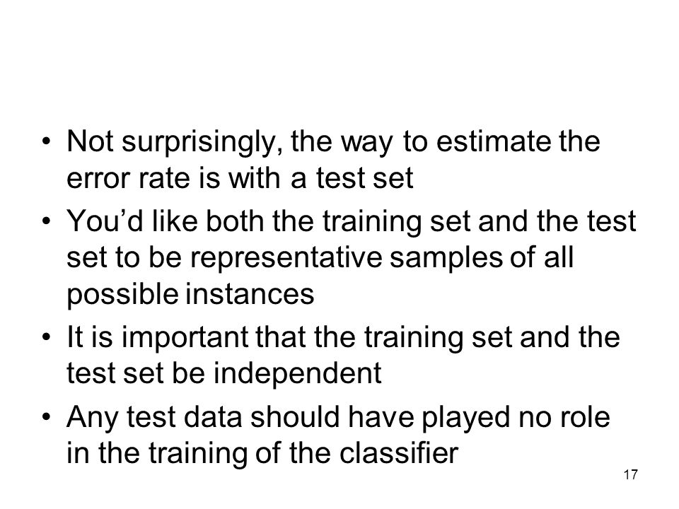 Not surprisingly, the way to estimate the error rate is with a test set