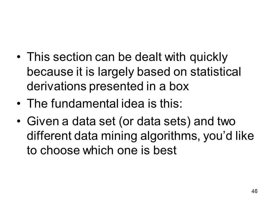 This section can be dealt with quickly because it is largely based on statistical derivations presented in a box