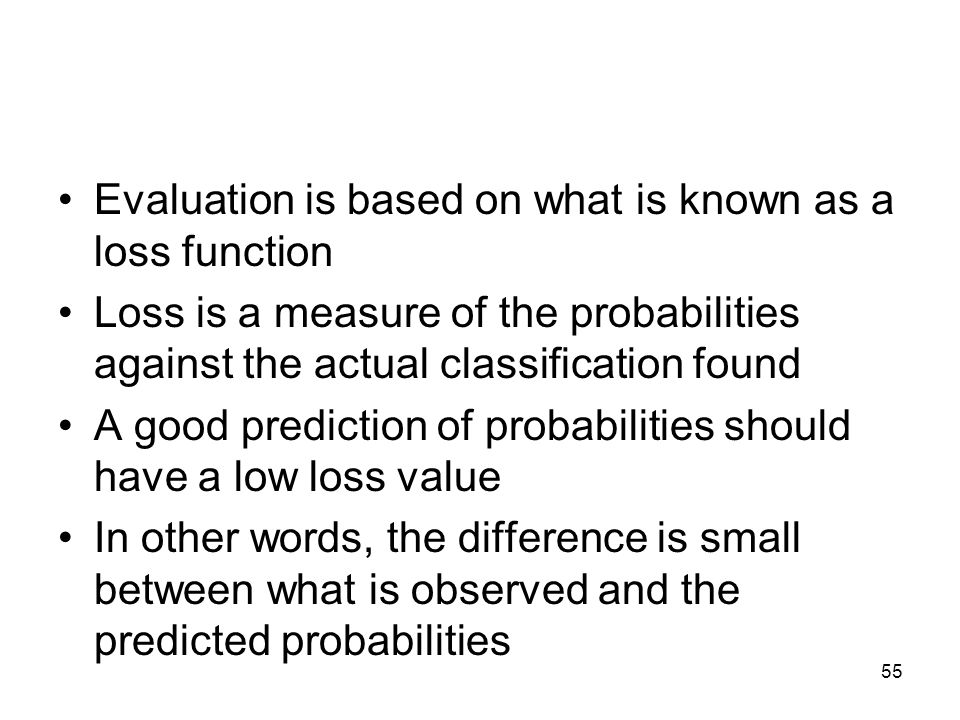 Evaluation is based on what is known as a loss function