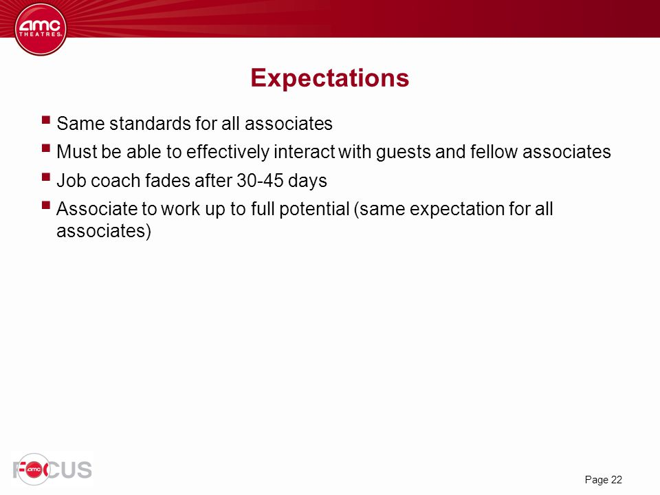 Expectations Same standards for all associates