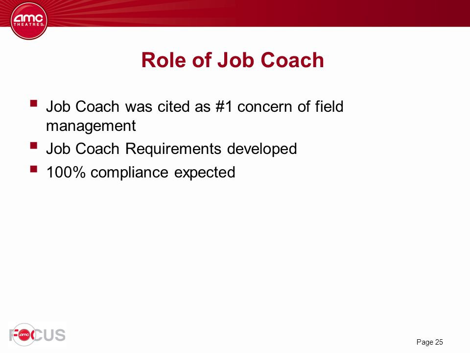 Role of Job Coach Job Coach was cited as #1 concern of field management. Job Coach Requirements developed.