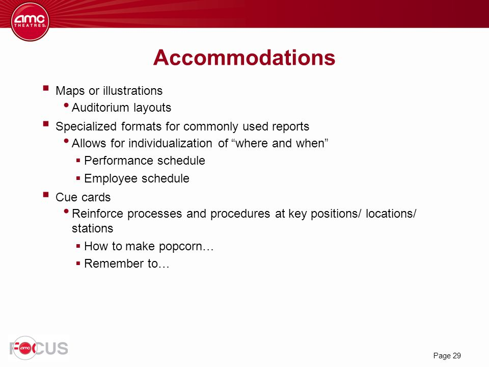 Accommodations Maps or illustrations Auditorium layouts