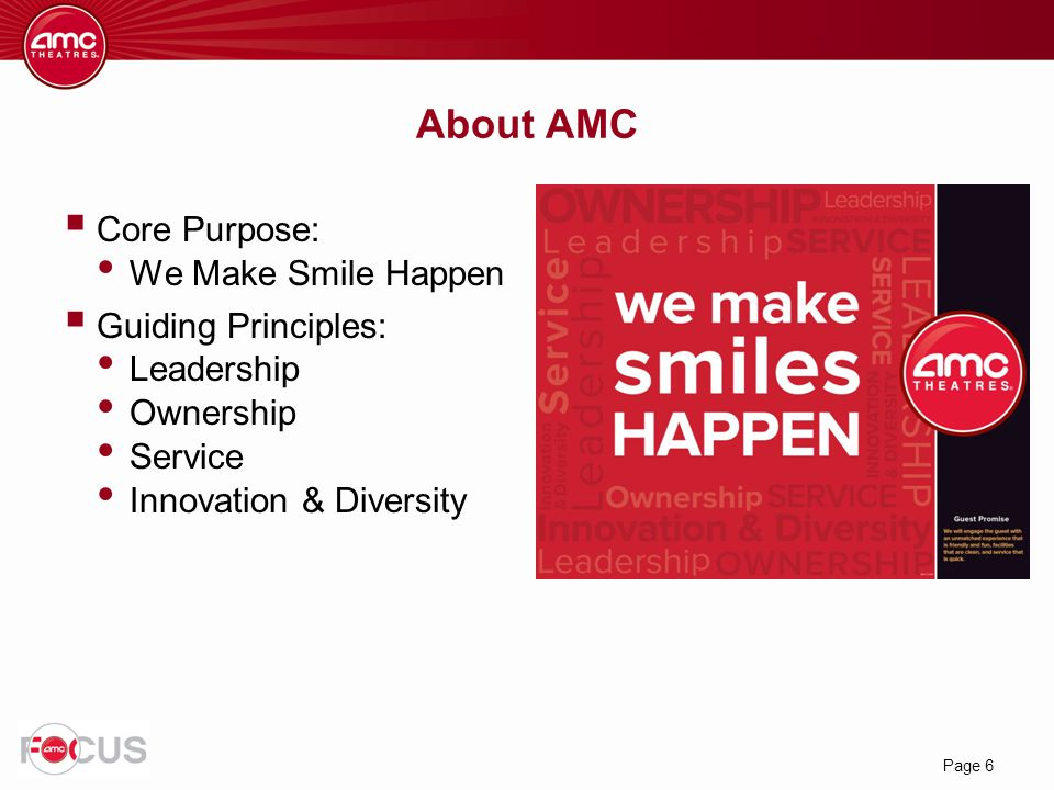 About AMC Core Purpose: We Make Smile Happen Guiding Principles: