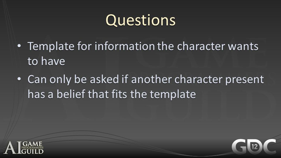 Questions Template for information the character wants to have