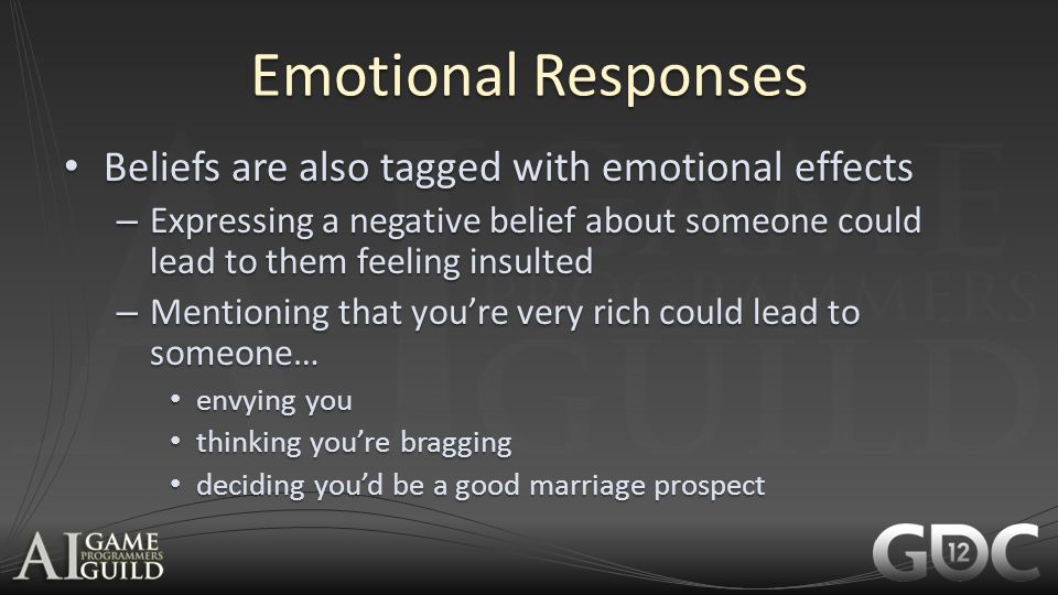 Emotional Responses Beliefs are also tagged with emotional effects