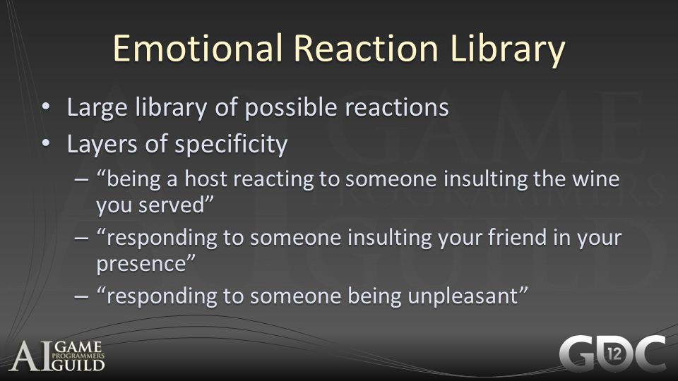 Emotional Reaction Library