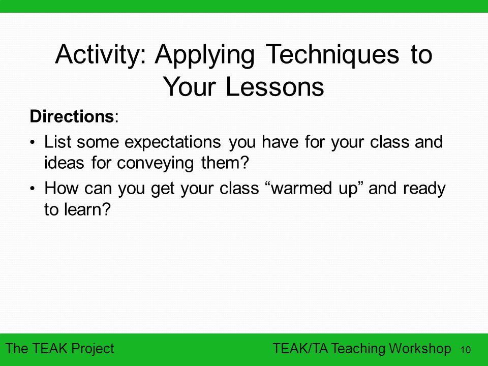 Activity: Applying Techniques to Your Lessons