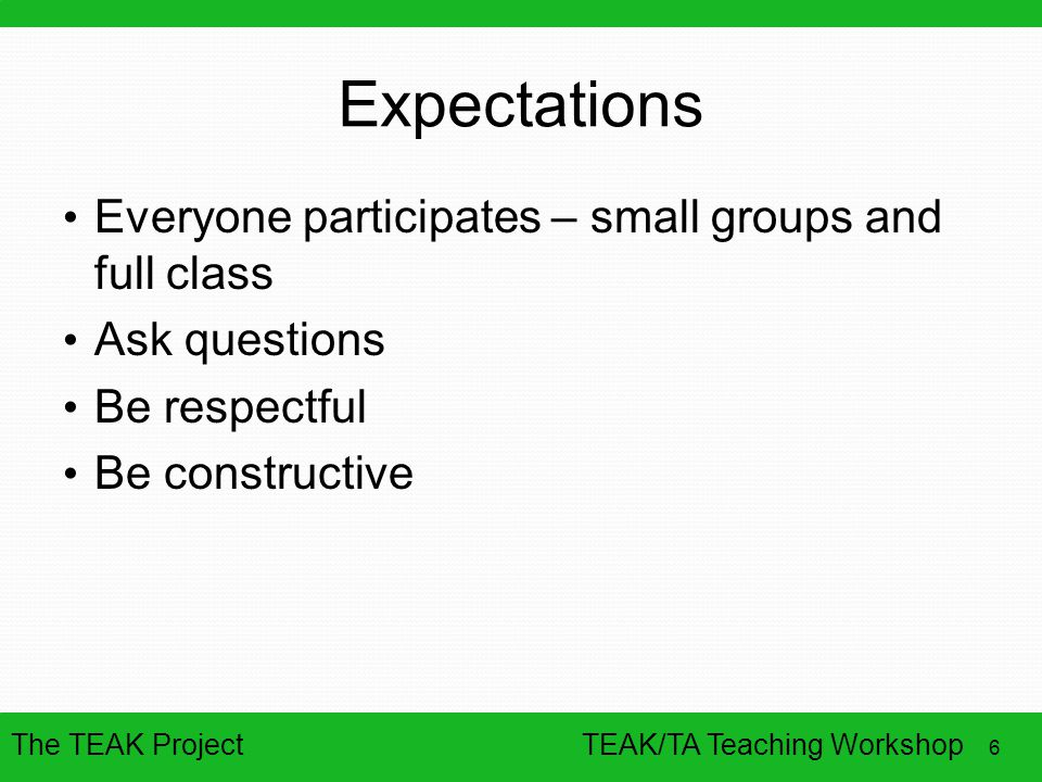 Expectations Everyone participates – small groups and full class