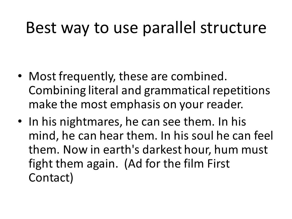 Best way to use parallel structure