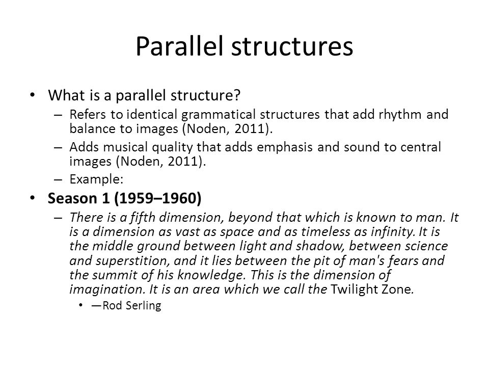 Parallel structures What is a parallel structure Season 1 (1959–1960)