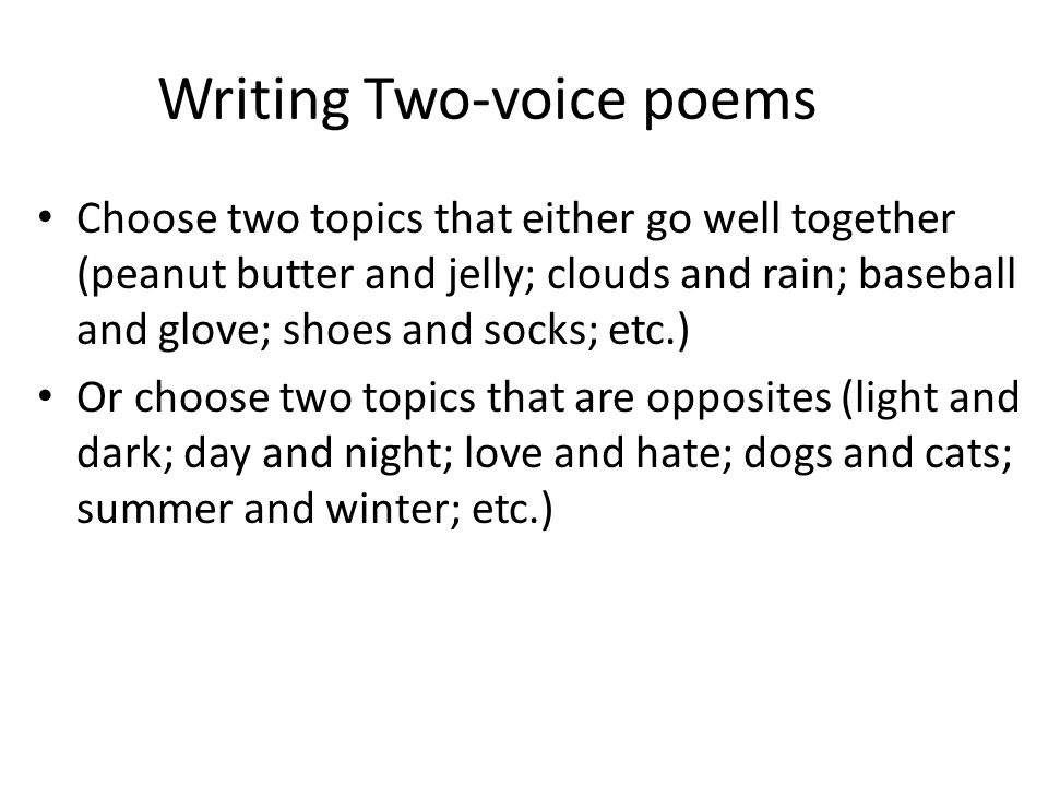 Writing Two-voice poems