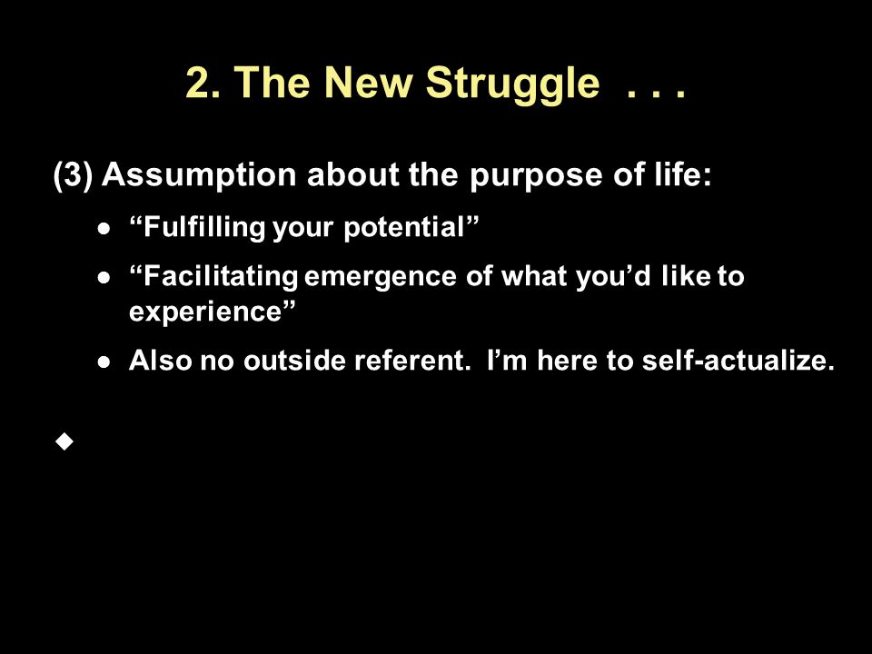 2. The New Struggle . . . Assumption about the purpose of life: