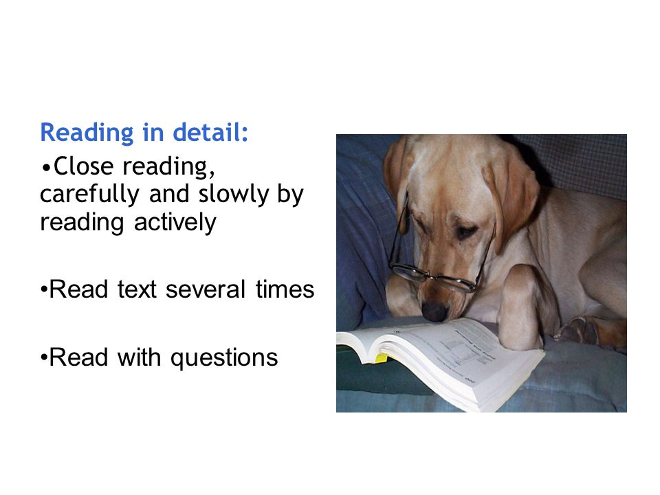 Reading in detail: Close reading, carefully and slowly by reading actively. Read text several times.