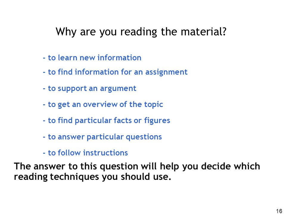 Why are you reading the material
