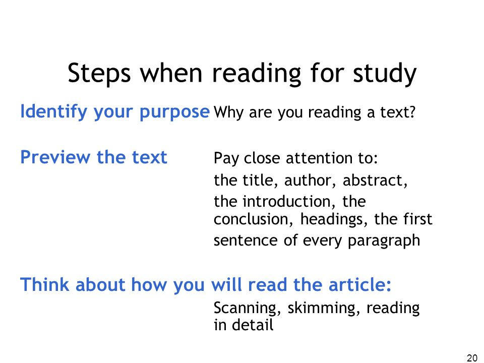 Steps when reading for study