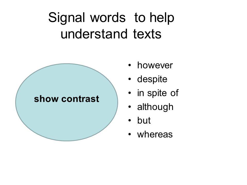 Signal words to help understand texts