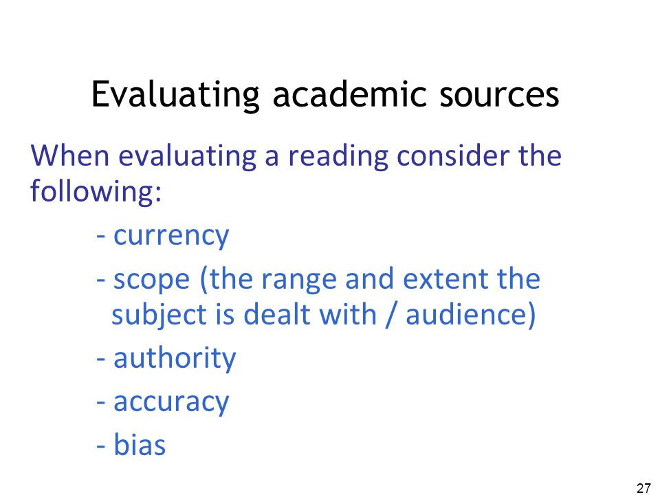Evaluating academic sources