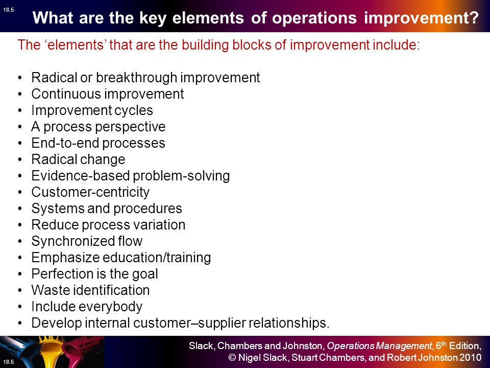 What are the key elements of operations improvement