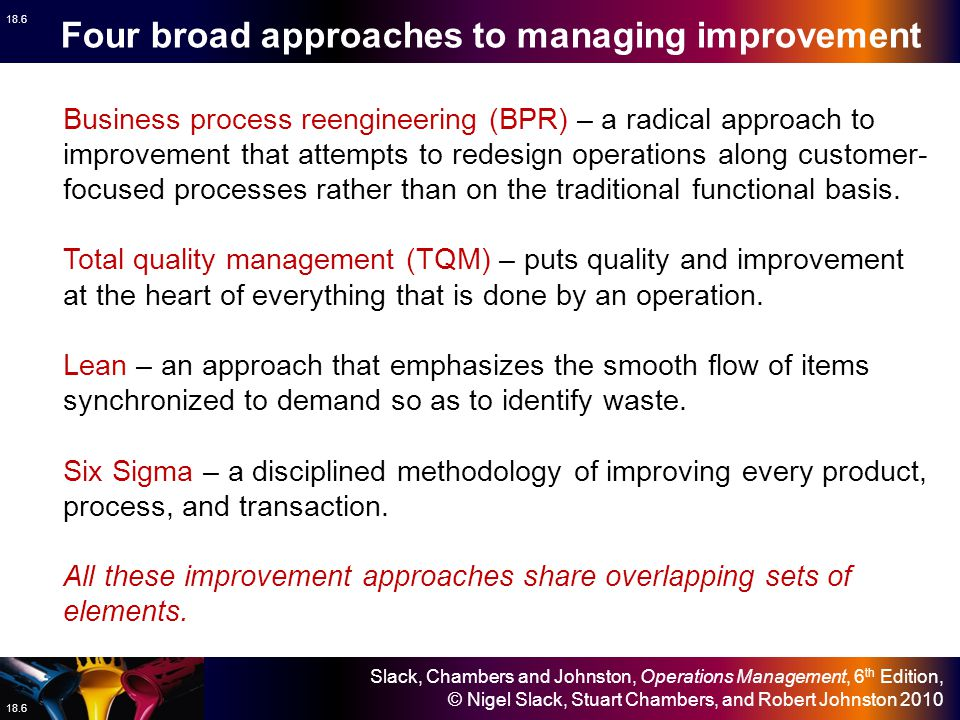 Four broad approaches to managing improvement