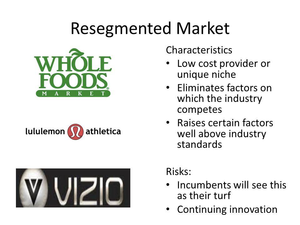 Resegmented Market Characteristics Low cost provider or unique niche
