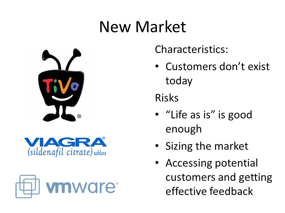 New Market Characteristics: Customers don't exist today Risks