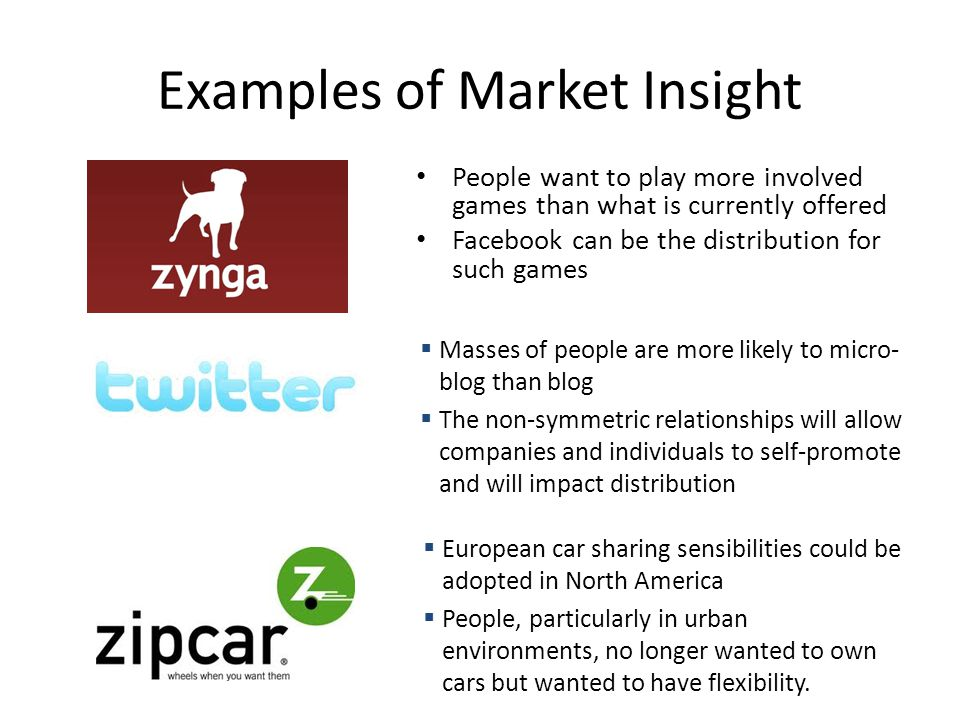 Examples of Market Insight