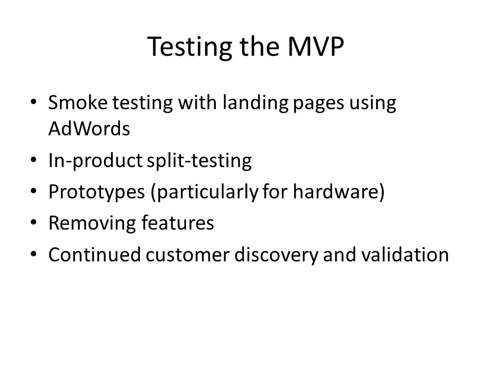 Testing the MVP Smoke testing with landing pages using AdWords