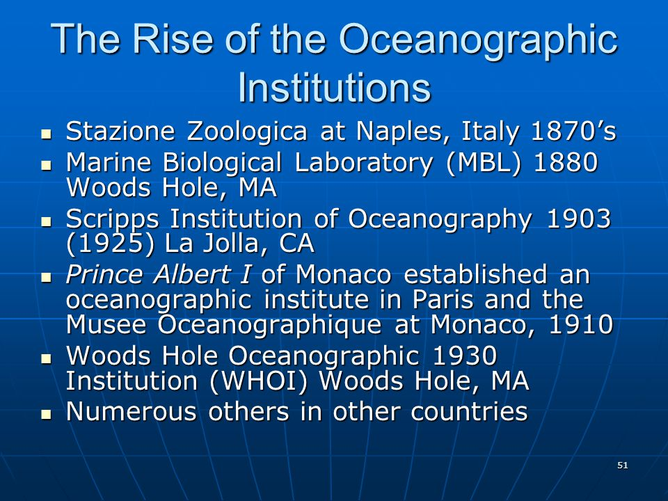 The Rise of the Oceanographic Institutions