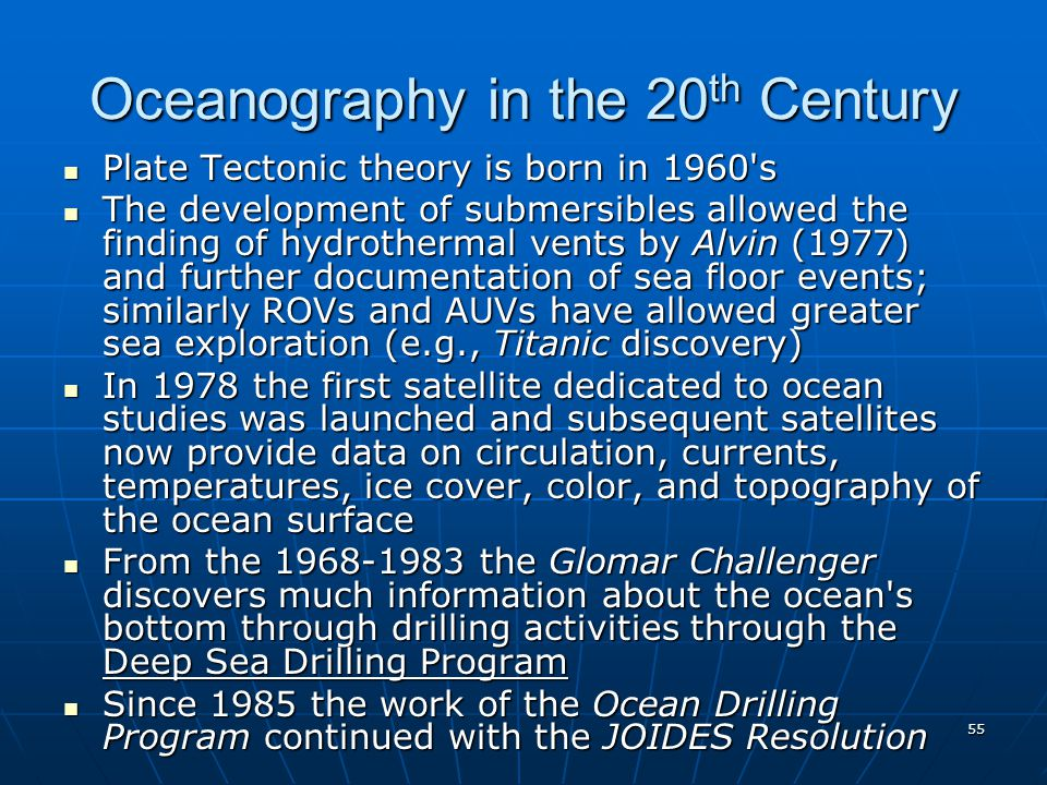 Oceanography in the 20th Century
