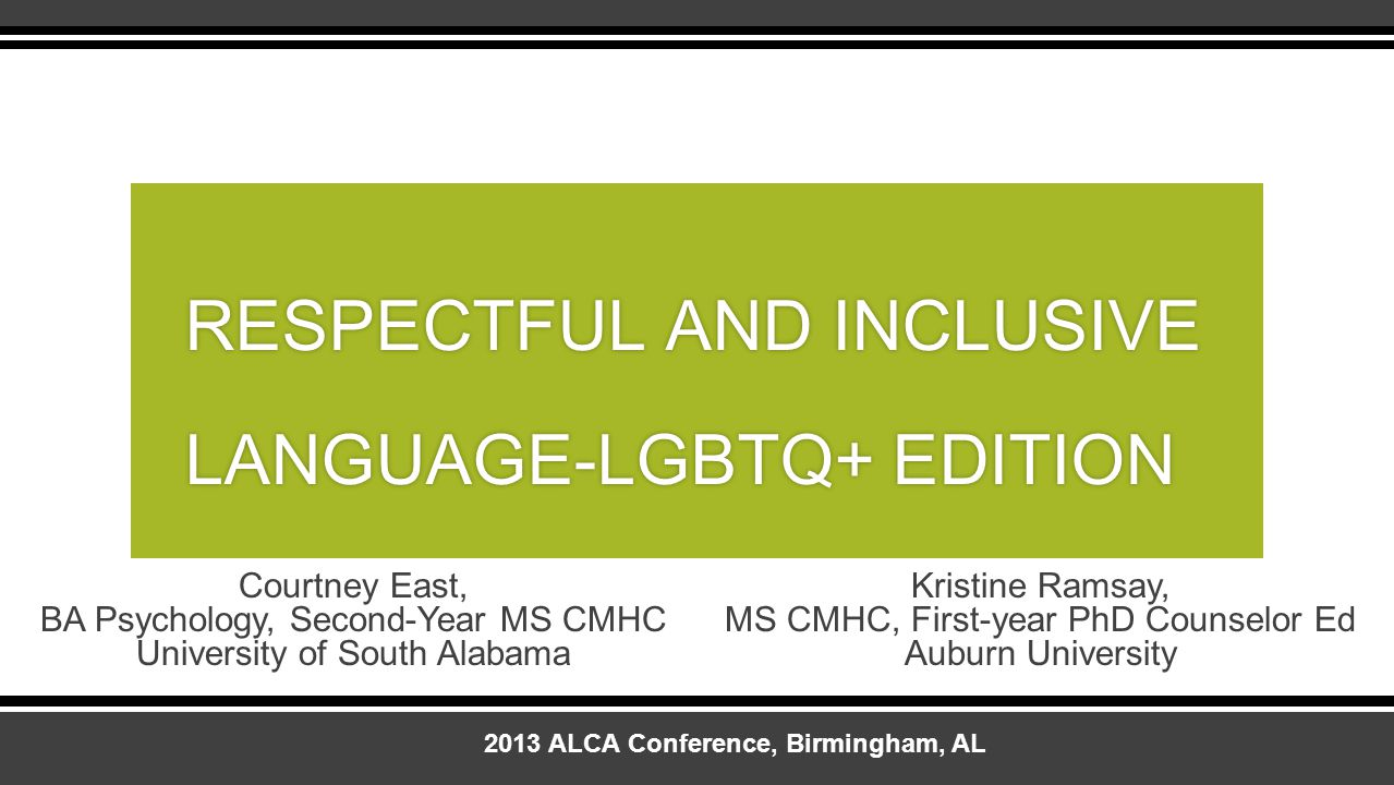 RESPECTFUL AND INCLUSIVE LANGUAGE-LGBTQ+ EDITION