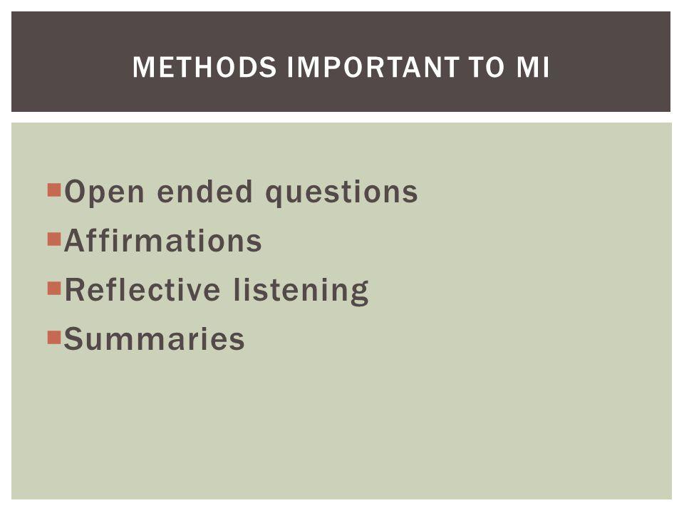 Methods Important to MI