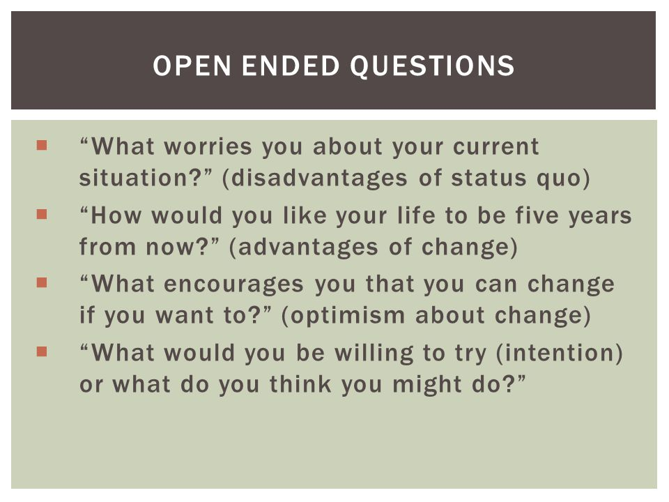 Open Ended Questions What worries you about your current situation (disadvantages of status quo)