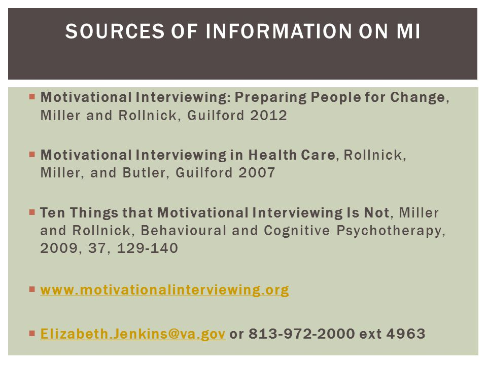 Sources of Information on MI