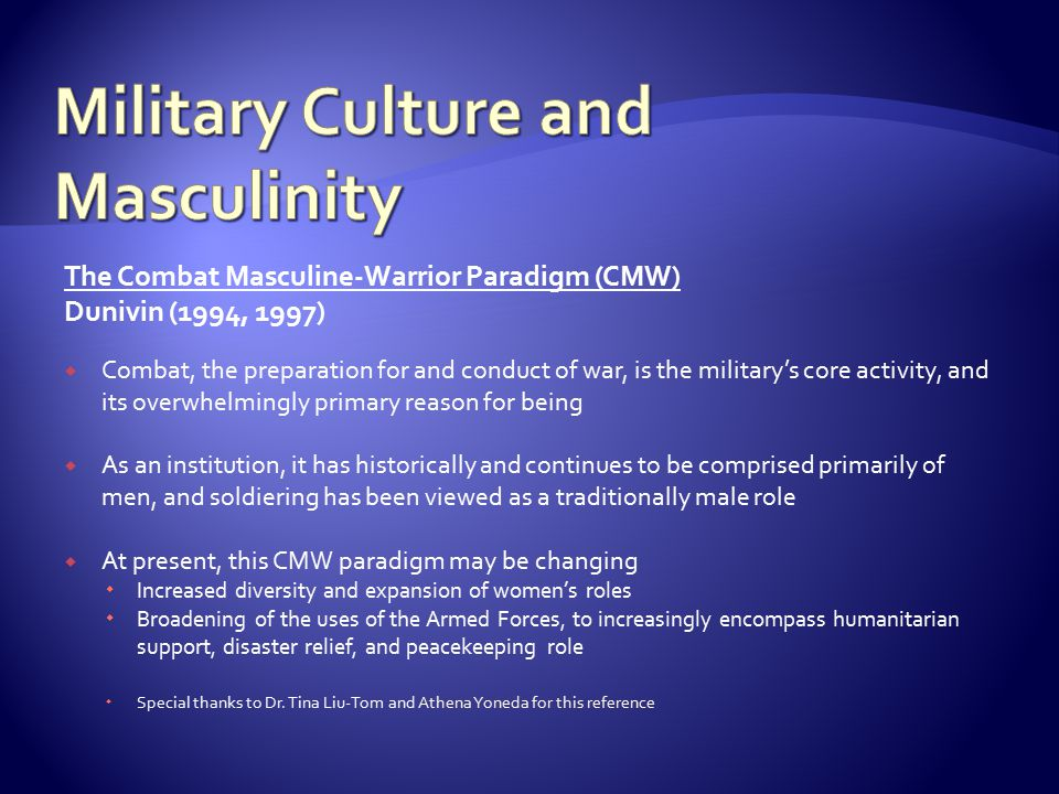 Military Culture and Masculinity