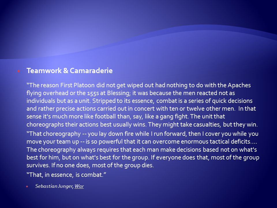 Teamwork & Camaraderie