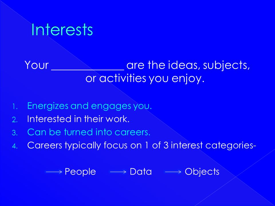 Your _____________ are the ideas, subjects, or activities you enjoy.